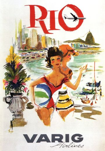 Vintage Travel Poster Rio Varig Airlines